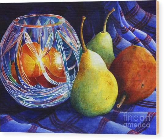 Crystal And Pears Wood Print