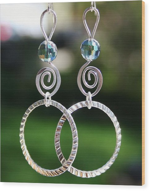 Crystal Ball Earrings Wood Print