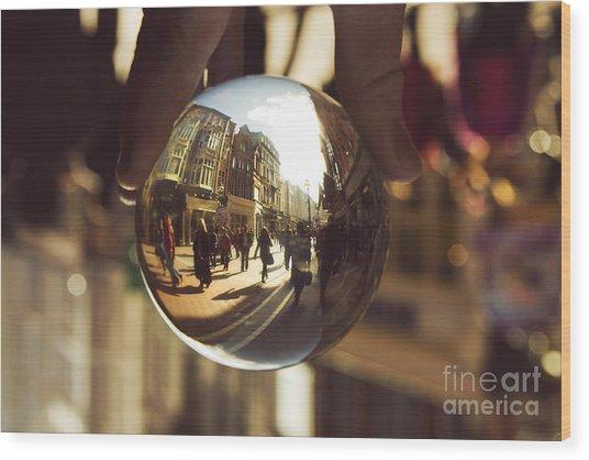 Crystal Ball On Grafton Street Dublin Wood Print by Catherine MacBride