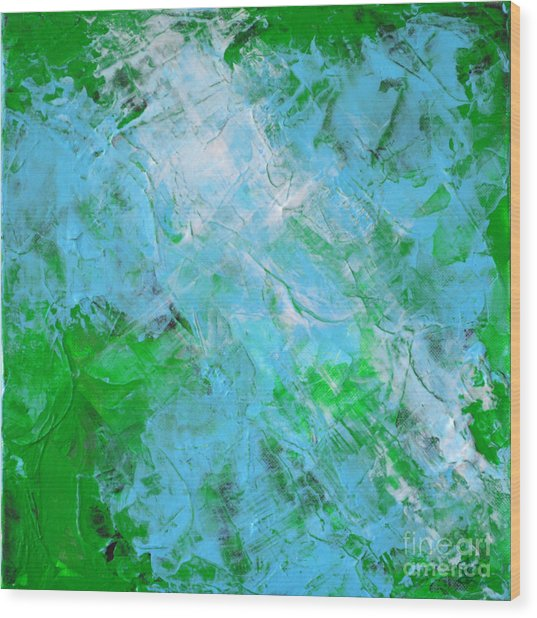 Crystal Cave - Green Pale Blue Abstract By Chakramoon Wood Print by Belinda Capol