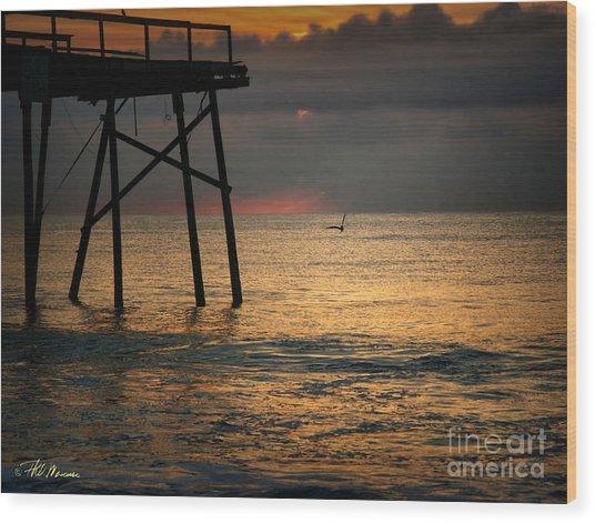 Crystal Pier Sunrise Wood Print