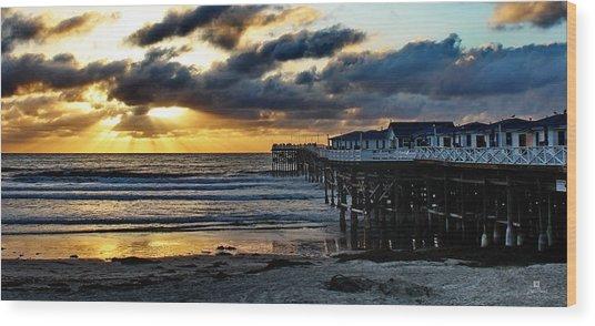 Crystal Pier Sunset Pb Wood Print