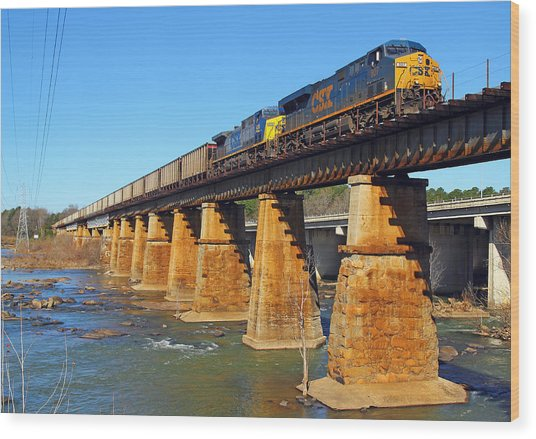 Csx Over Riverfront Park Wood Print
