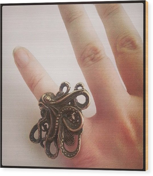 #cthulhu #ring ♥ #octopus #jewelry Wood Print
