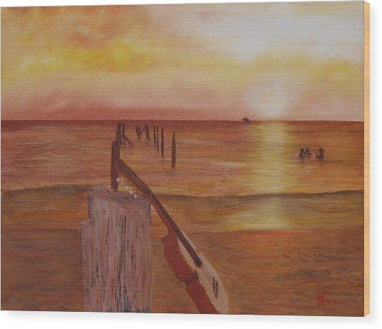 Cuatro Sunset Wood Print
