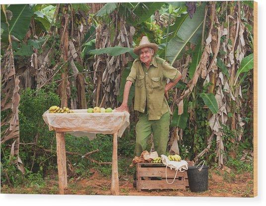 Cuban Man Selling Produce Wood Print