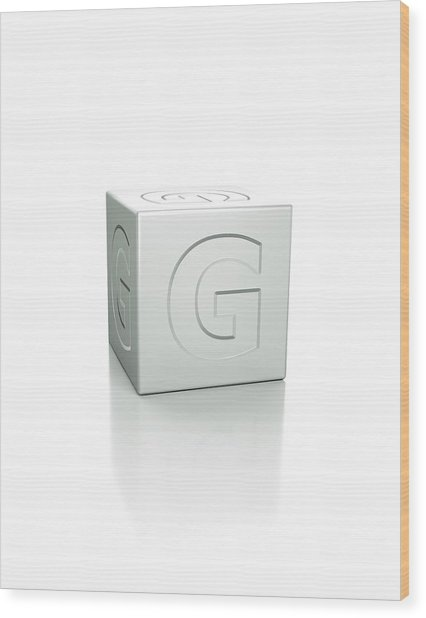Cube With The Letter G Embossed Wood Print by David Parker/science Photo Library