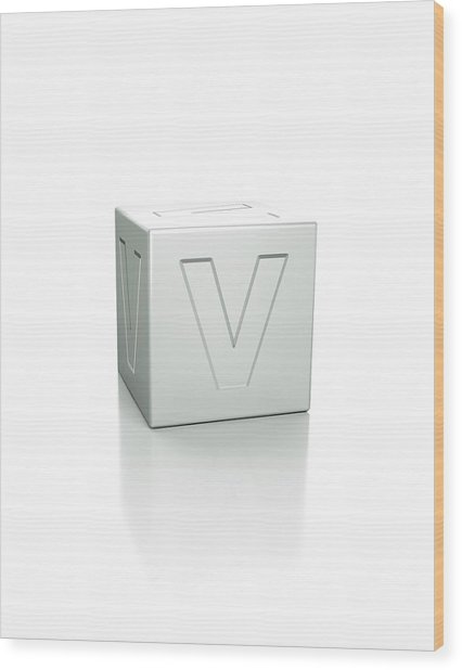 Cube With The Letter V Embossed Wood Print by David Parker/science Photo Library