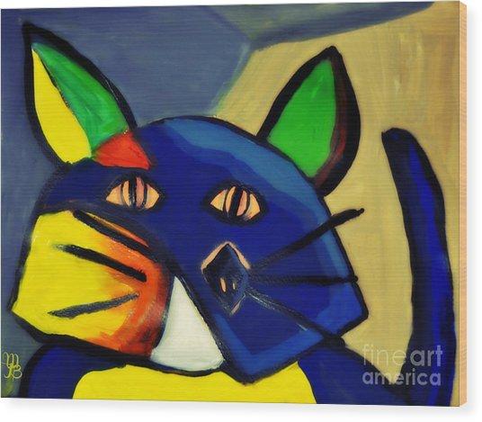 Cubist Inspired Cat  Wood Print