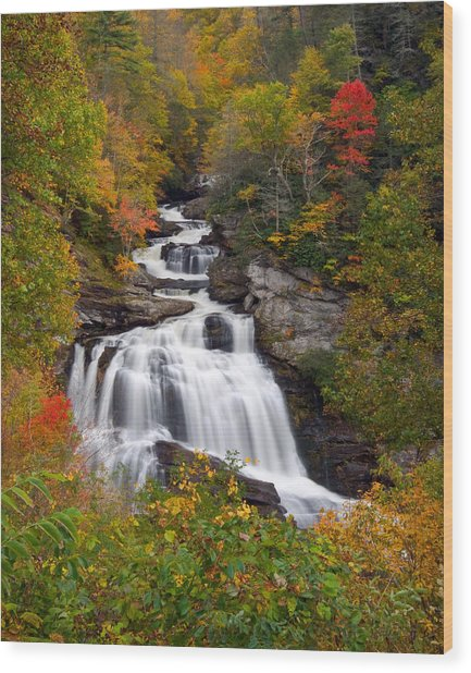 Cullasaja Falls - Wnc Waterfall In Autumn Wood Print