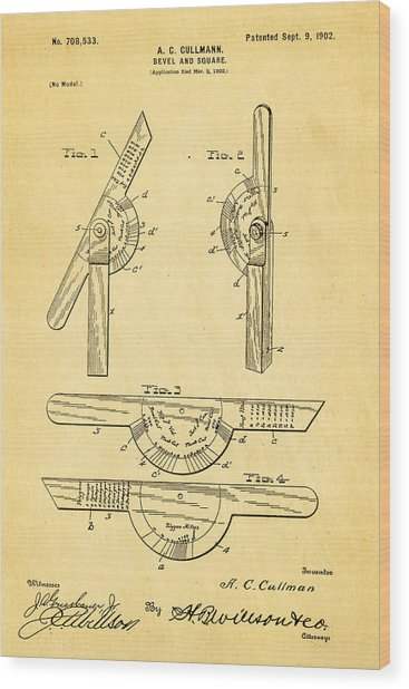 Cullmann Bevel And Square Patent  Art 1902 Wood Print
