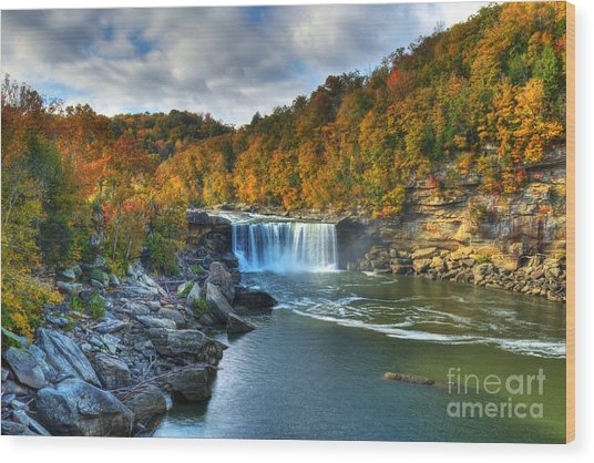Cumberland Falls In Autumn Wood Print