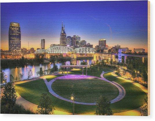 Cumberland Park And Nashville Skyline Wood Print by Lucas Foley