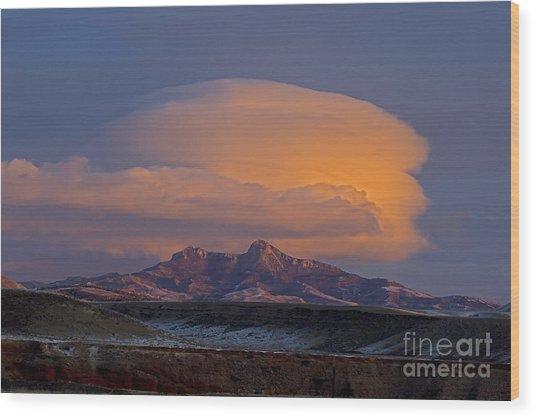 Cumulus Cloud Cap Over Heart Mountain   #2022 Wood Print