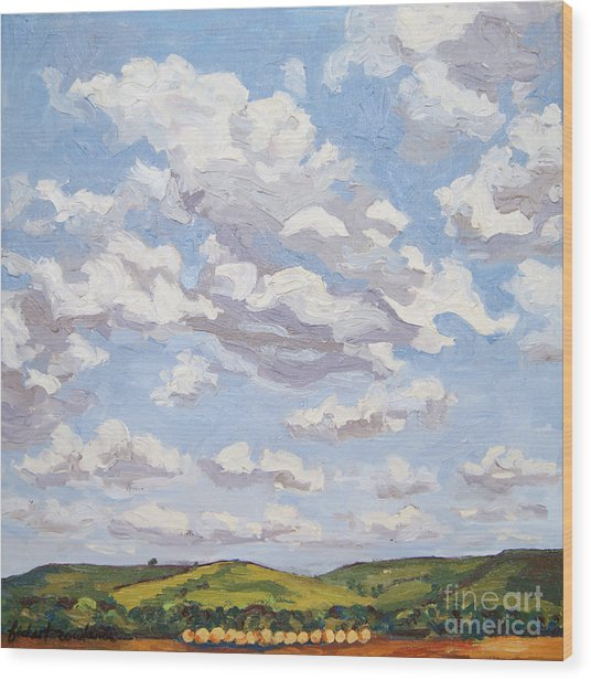 Wood Print featuring the painting Cumulus Clouds Over Flint Hills by Erin Fickert-Rowland