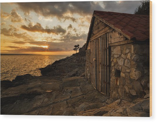 Cunski Beach At Sunrise Wood Print