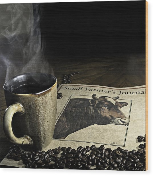 Cup Of Coffee And Small Farmer's Journal 1 Wood Print