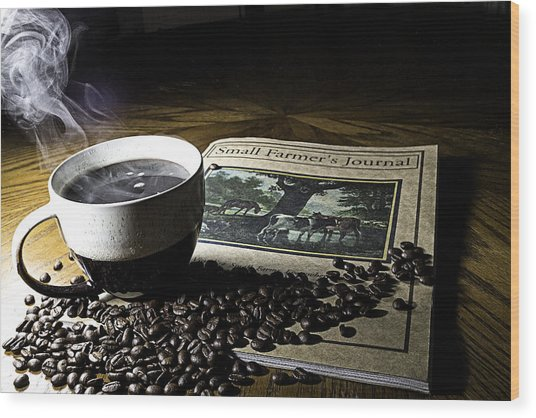 Cup Of Coffee And Small Farmer's Journal 2 Wood Print