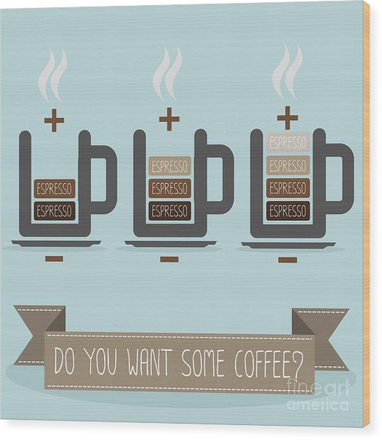 Cup Of Coffee Battery Wood Print