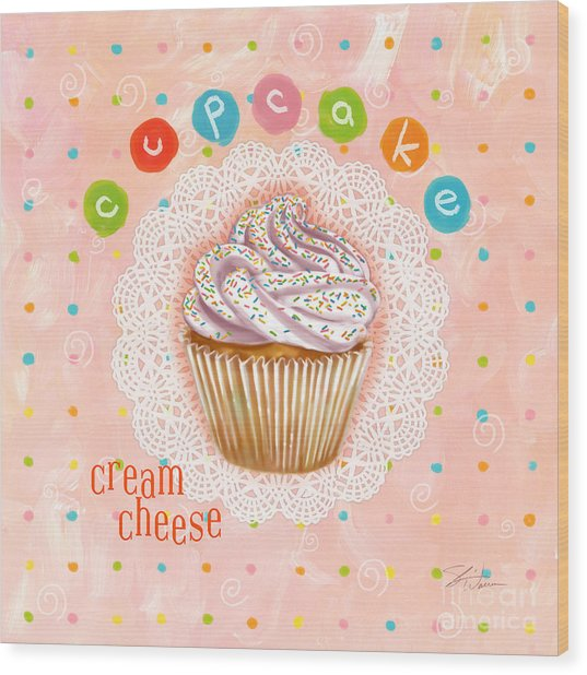 Cupcake-cream Cheese Wood Print