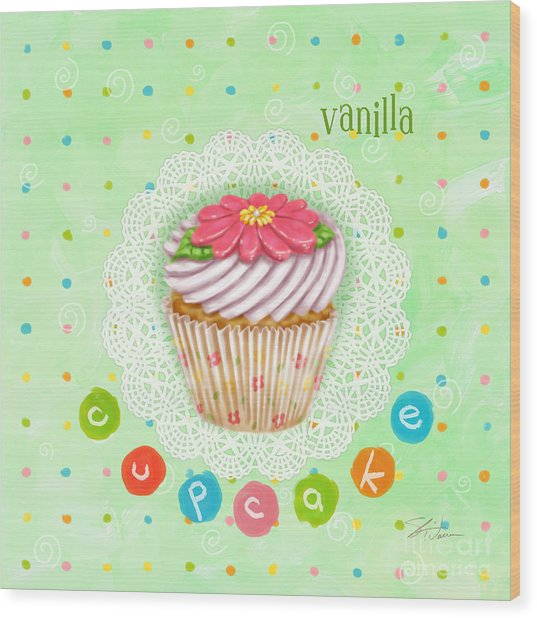 Cupcake-vanilla Wood Print