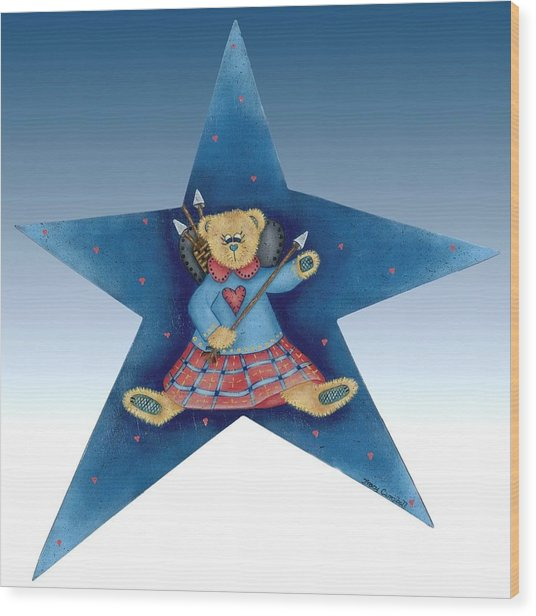 Cupid's Teddy Bear Wood Print