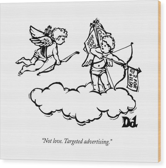 Cupid's Twin Shoots Coupons From Up On A Cloud Wood Print