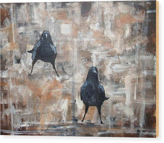 Curious Crows  Wood Print