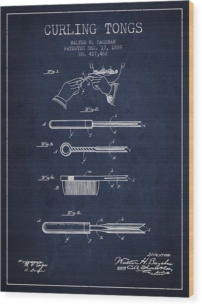 Curling Tongs Patent From 1889 - Navy Blue Wood Print