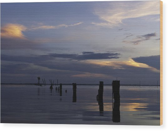 Currituck Sound Sunset Wood Print