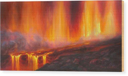 Erupting Kilauea Volcano On The Big Island Of Hawaii - Lava Curtain Wood Print