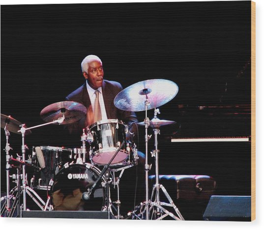 Curtis Boyd On Drums Wood Print by Cleaster Cotton