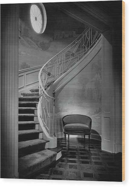 Curving Staircase In The Home Of  W. E. Sheppard Wood Print