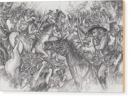 Custer's Clash Wood Print