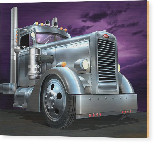 Custom Peterbilt Silver Ghost Wood Print