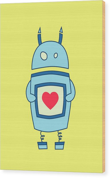 Cute Clumsy Robot With Heart Wood Print
