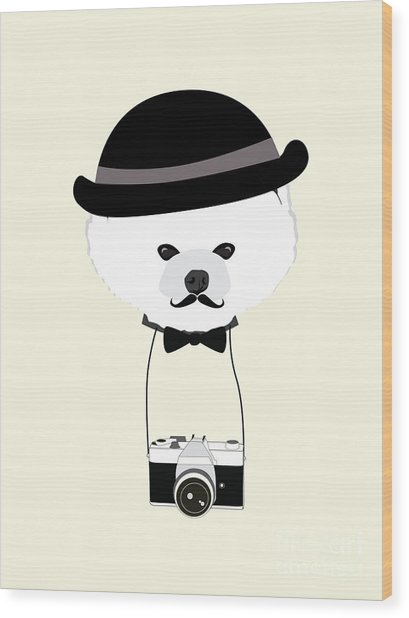 Cute Dog Photographer With Old Camera Wood Print