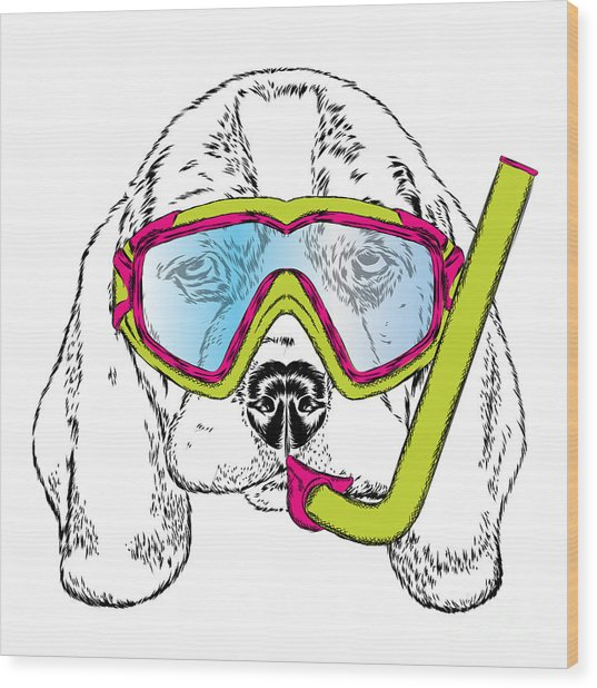 Cute Puppy Wearing A Mask For Diving Wood Print