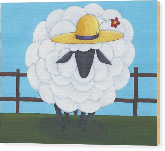 Cute Sheep Nursery Art Wood Print