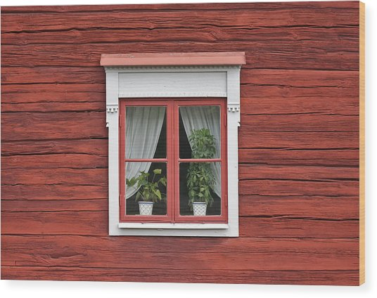 Cute Window On Red Wall Wood Print