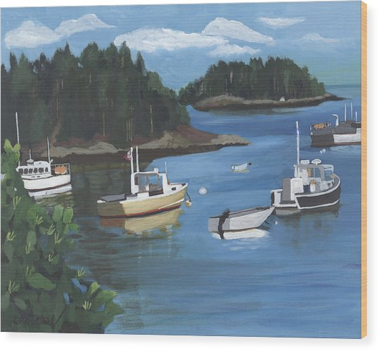 Wood Print featuring the painting Cutler Harbor  Maine by Jane Croteau