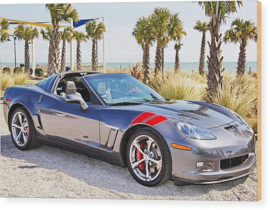 Cyber Gray Grand Sport Corvette At The Beach Wood Print
