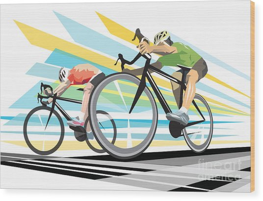 Cycling Sprint Poster Print Finish Line Wood Print