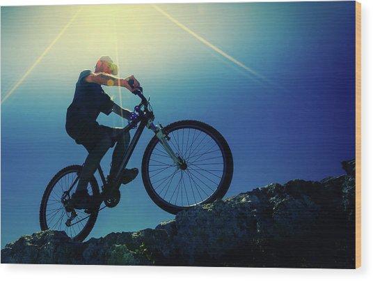 Cyclist On Bike Wood Print by Wladimir Bulgar