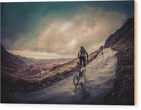 Cyclist On Hardknott Ramp Wood Print by Steve Fleming