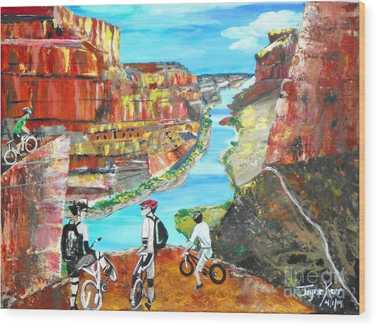 Cyclists In Grand Canyon Wood Print