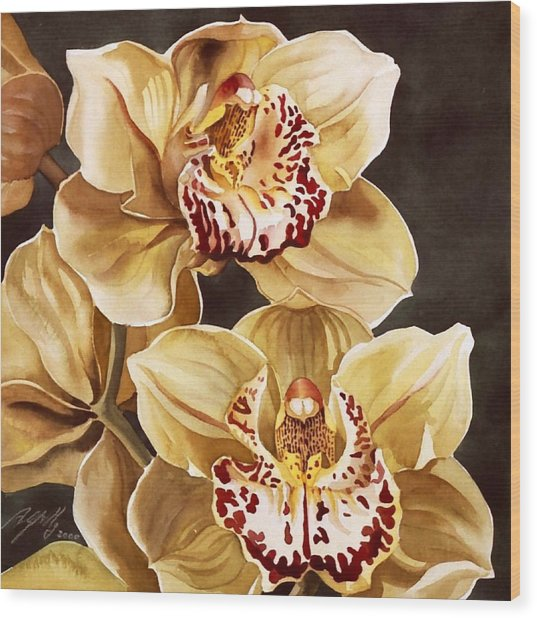 Cymbidium Orchids Wood Print by Alfred Ng