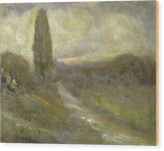 Cypress Landscape Wood Print