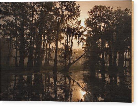 Cypress Sunrise Wood Print