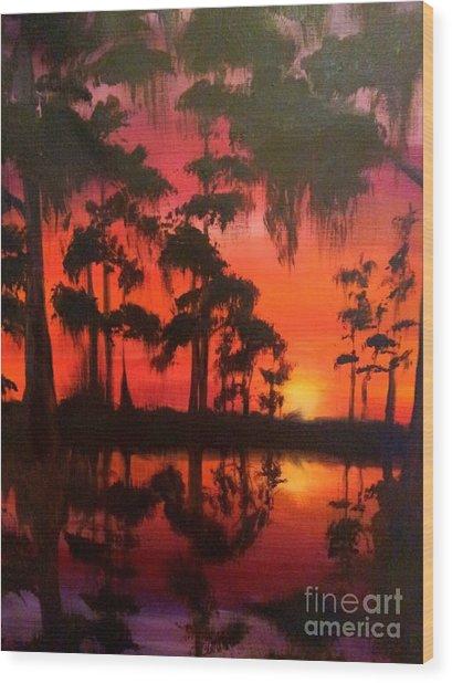 Cypress Swamp At Sunset Wood Print